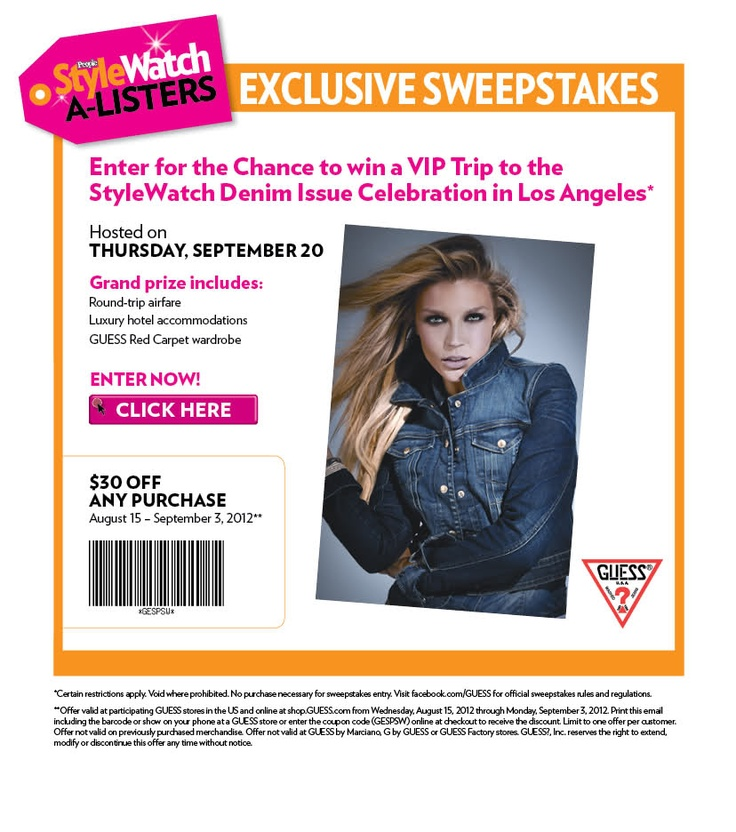 $30 off Any Purchase Use Guess Coupon GESPSW (You MUST proceed to checkout to enter code. Coupon will NOT work in the shopping bag promo code field) In-store Printable Guess Coupon