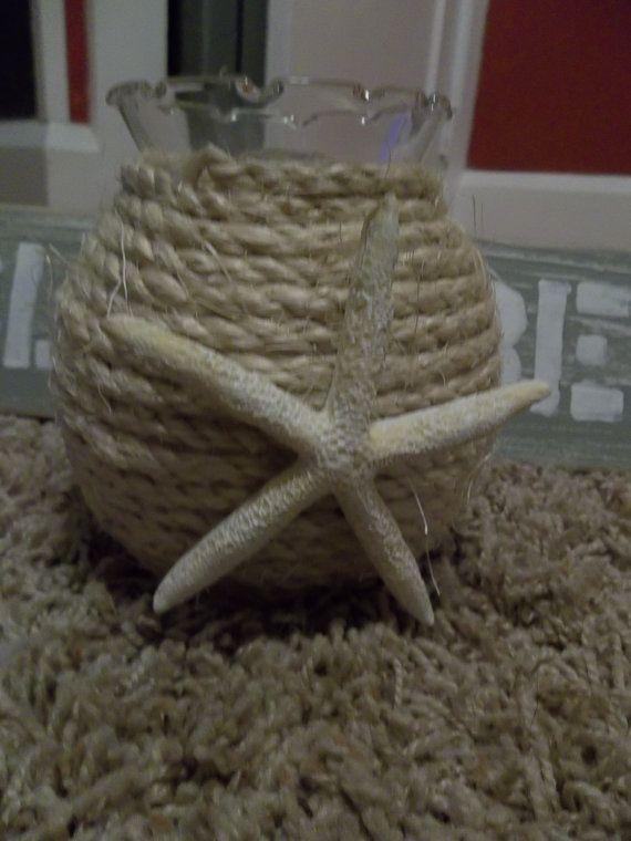 Starfish and sisal vase