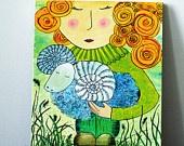 "ORIGINAL PAINTING Blond girl with sheep ""My pet"". Girl illustration. Farm animal. Animal illustration. Home decor. Nursery room. Wall art"