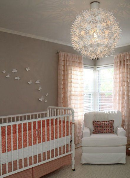 23 glamorous ideas for nursery lighting @BabyCenter #nursery #decor #lighting: Coral Nurseries, Curtains, Lights Fixtures, Butterflies, Colors Schemes, Baby Girls, Baby Rooms, Girls Nurseries, Nurseries Ideas