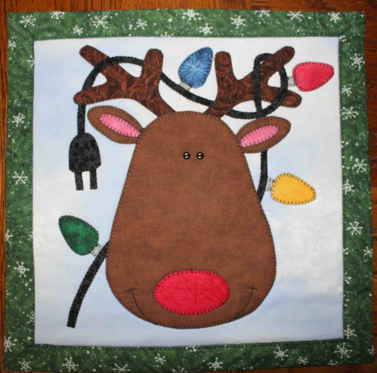 Rudolf the red nosed reindeer - Applique quilted wall hanging