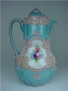 Love this 1!!! This is my favorite,I love the teal & silver!....Nippon teapot