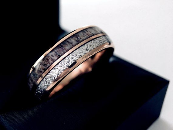 Mens Tungsten Ring Antler And Wood Wedding Band Mens In 2020