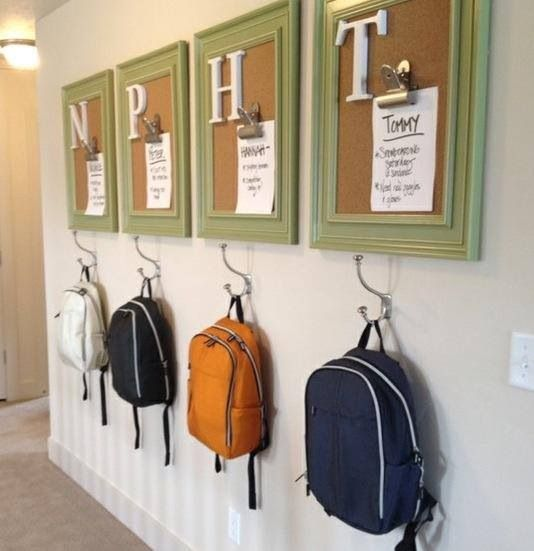 """A """"home"""" for the book bag and a checklist of chores for each kid :)"""