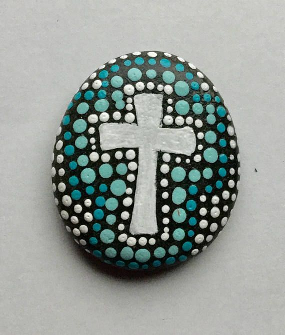 Hand painted Prayer Stone, Cross, rock