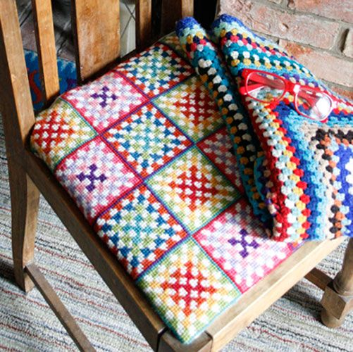 granny square cross stitch, who'd have thought it?!