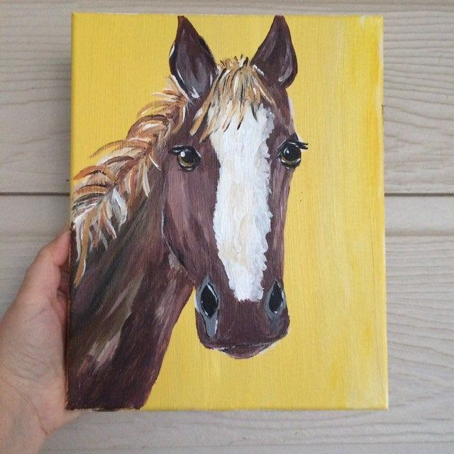 Horse Acrylic Painting Farm Animal Nursery Decor Mothers Day Etsy In 2020 Horse Canvas Painting Animal Canvas Paintings Canvas Art Painting