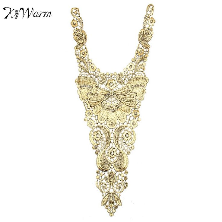 1Pcs Embroidered Metallic Gold and Black Lace Collar Neckline Applique Patches Embellishments for Clothes Dress DIY Accessory