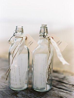 beach wedding idea - message in a bottle