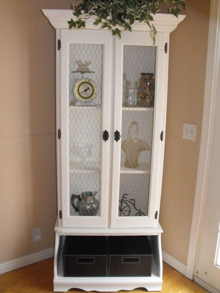 old gun cabinet turned curio