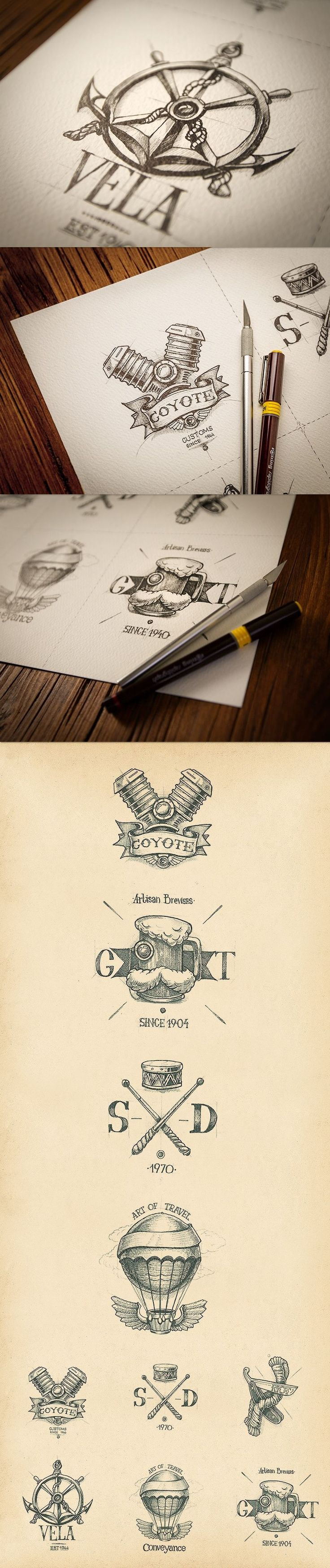 """Unknown designers, great handmade logos. Beautifully crafted """"old school"""" style. #oldschoollogos"""