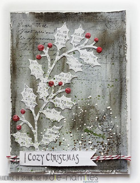 Shabby Christmas Card by Susanne Rose, using several stamps from rubberdance.com . I love the colours! Quite non-traditional, and absolutely stunning!