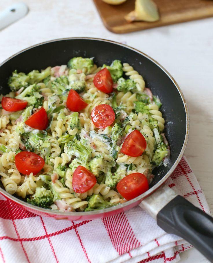 Romige pasta met broccoli en spekjes   Flairathome.nl