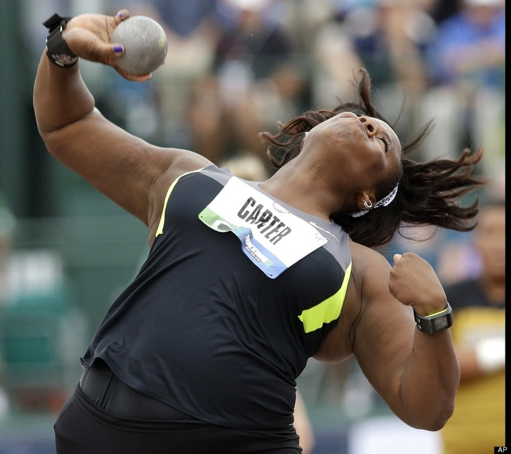 Michelle Carter  From San Jose places second in the womens shot put at 60-11 1/4 (18.57m) in the womens shot put during the 2012 U.S. Olympic Team Trials at Hayward Field