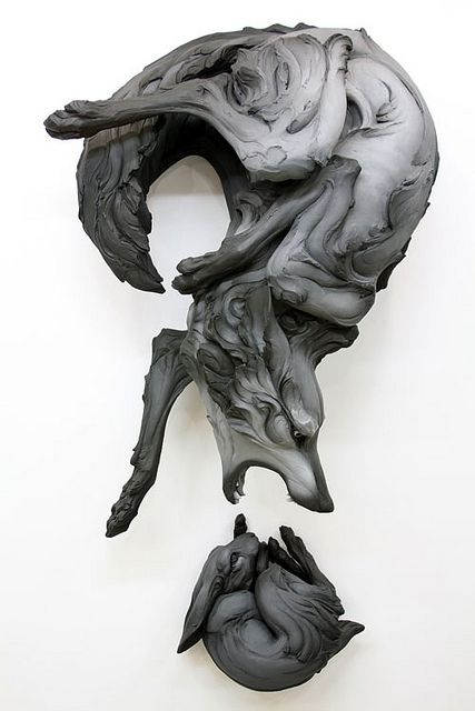 Beth Cavener Stichter (featured in Hi-Fructose Vol. 16) caught our attention with her raw sculptural style. The artist forms animals by hollowing out blocks of clay, giving her subjects a raw, unrefined appearance as if they sprang from the material itself. / via Mike Estee
