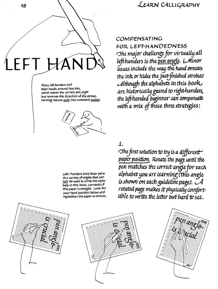 For Lefthanders.  From Learn Calligraphy, by Margaret Shepherd