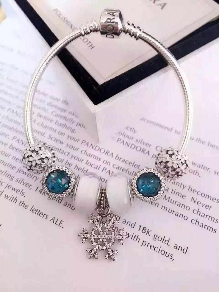 $199 Pandora Charm Bracelet Blue White. Hot Sale!