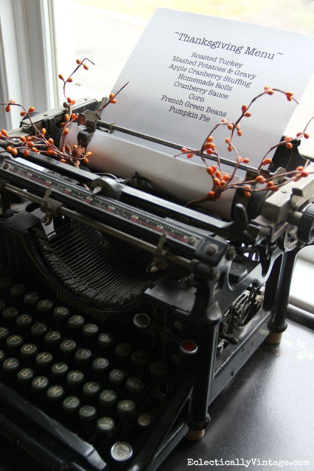Antique typewriter menu eclecticallyvintage.com