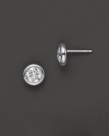 Roberto Coin 18 Kt. White Gold Bezel-Set Diamond Stud Earrings, 1.50 ct. t.w. | Bloomingdale's