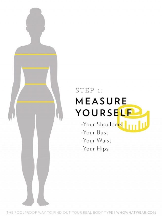 Get clothes that fit. Shoulders: Have someone help you measure from the tip of one shoulder all  the way around you. The measuring tape should be high up around your shoulders so it almost slips off. Bust: Pull...