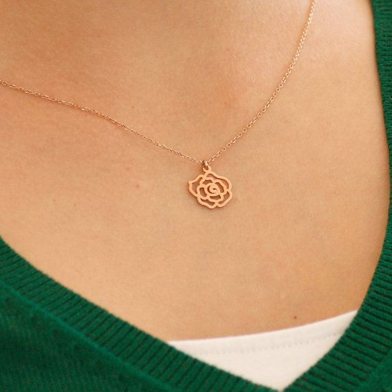 Gold flower necklace lotus flower rose gold by KyklosJewelryLab