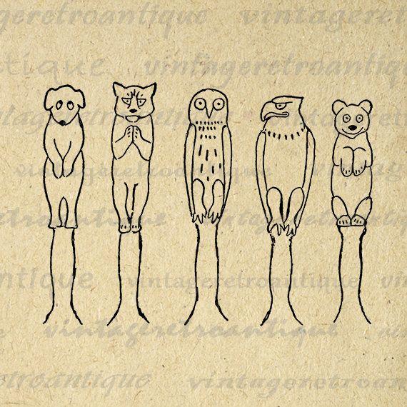 Printable Animal Totem Poles Digital Download Native American