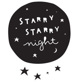 Decorative wall sticker of a black circle with the text 'Starry starry night' with 33 little star stickers. With these cool wall stickers you'LL give the kids' rooms a new look in an instant!    Sizes: 21.3 x 21 cm (large sticker) Contents: 1 large and 33 small stickers