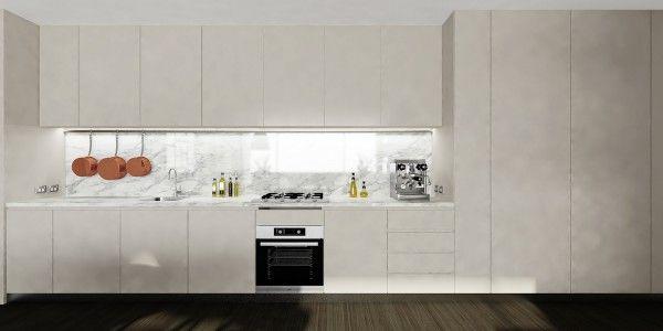 studio kitchen marble backsplash
