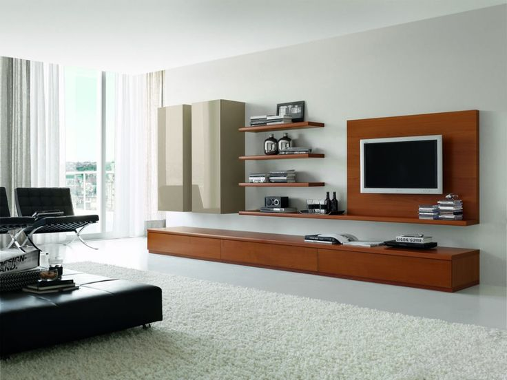 Elegant Wall Unit Design Ideas With Wood Material Light Brown And Grey Color