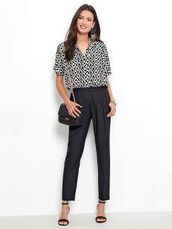 Macacão de calças mulher estampado com manga curta e elástico na cintura