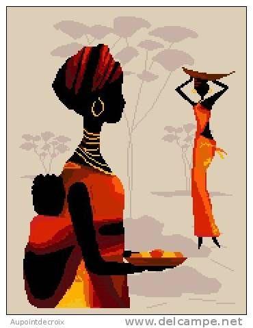 0 point de croix femme africaine et bébé dans son dos - cross stitch african woman with baby on her back