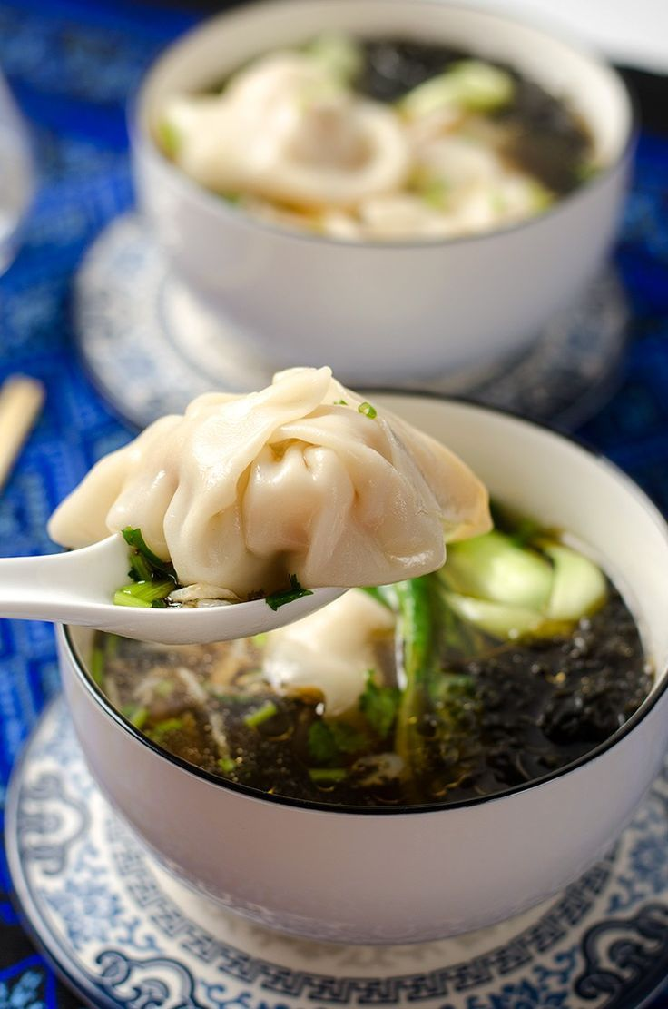 Authentic Chinese pork and shrimp wonton soup