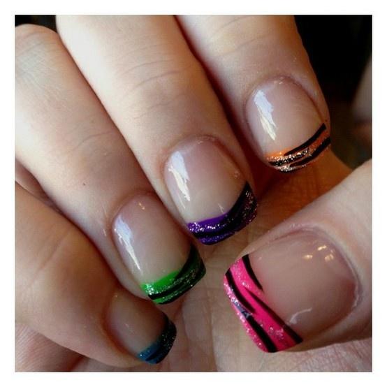 Neon French Tip Nail Designs: Neon, Rainbow Zebra