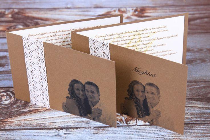 Csipkés esküvői meghívó, vintage esküvői meghívó, fényképes meghívó _ vintage lace wedding invitations