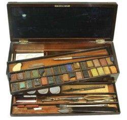 Windsor & Newton Watercolour Box -1830's Gorgeous antique watercolour boxes for sale at Green & Stone