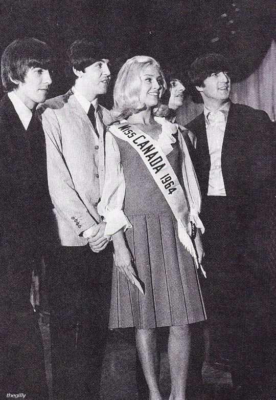 The Beatles with Miss Canada 1964, Carol Ann Balmer, at a Toronto press…