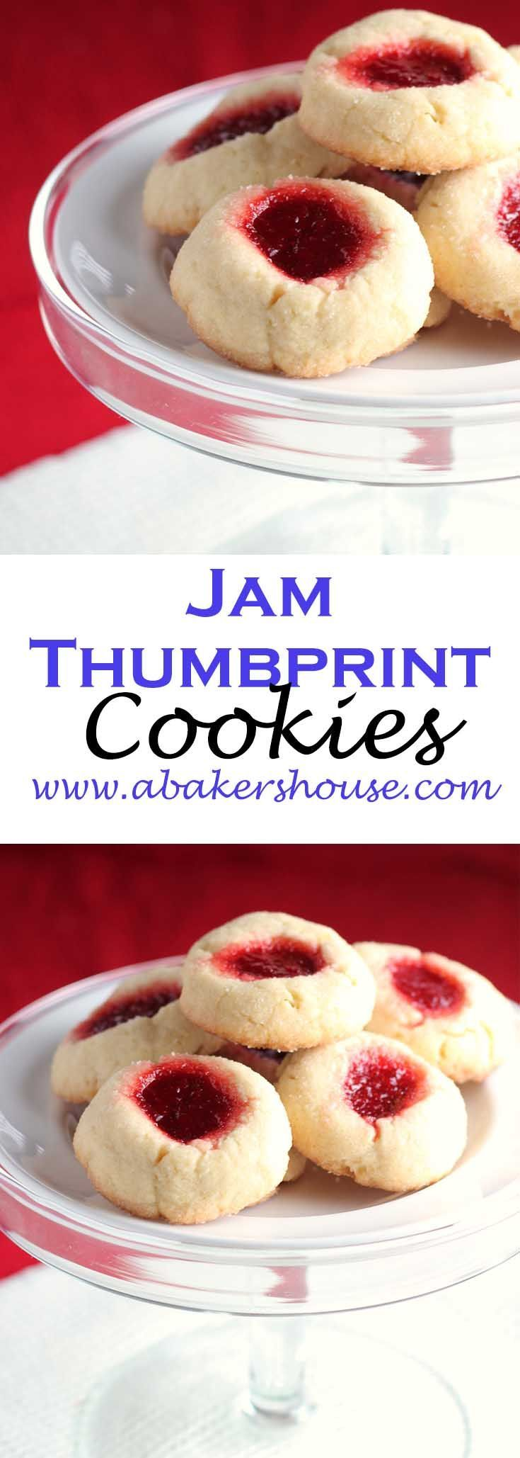 Jam thumbprint cookies are a simple cookie that can change with the seasons. Add red strawberry preserves to make this a holiday cookie or use lemon curd to make this perfect for welcoming spring. In the fall a filling could be pumpkin butter and in the summer a fresh puree of berries. Made by Holly Baker at www.abakershouse.com
