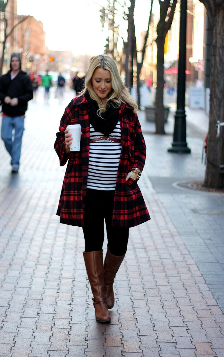 Cute winter maternity outfit with plaid and stripes.