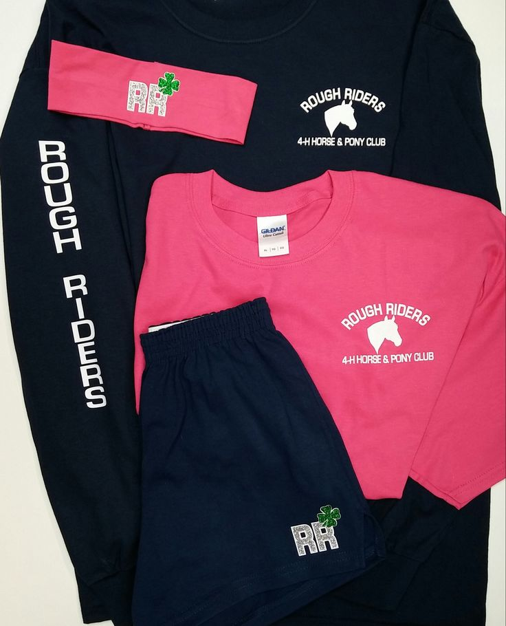 Apparel for Rough Riders 4-H Horse and Pony Club. Designs in vinyl and glitter. www.jandkembroideryplus.com