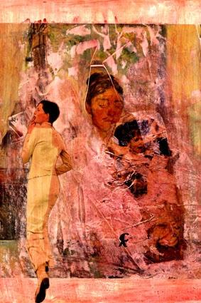 11-MUROS de ARTE (Cris Acqua) Pintura MIxta Collage. 30x21 cm. MUROS de ARTE. Mixed Media.  He jugado con seda en los muros, con pinturas, con periódicos, con cepillos y pinceles impregnados de cola, con mis recuerdos, con mis fantasias, con mi rabia, con mi alegria, pero siempre , siempre..como amante encaprichada, obsesivamente del ARTE... (Cris Acqua) www.crisacqua.com