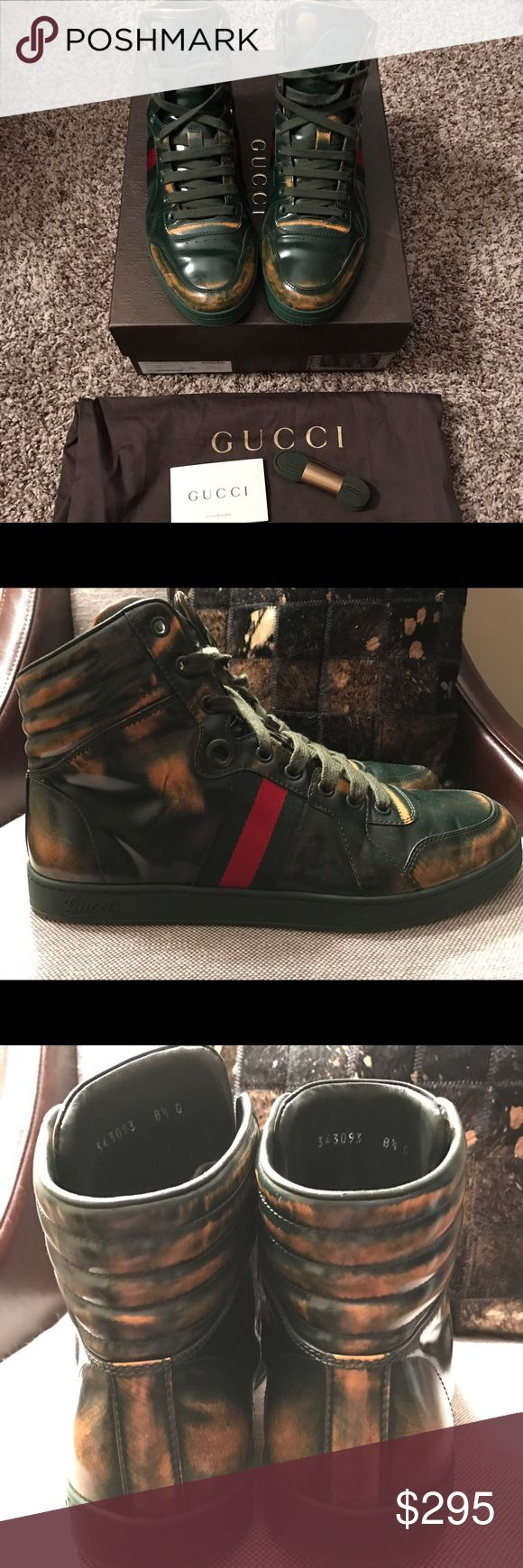 Gucci Men's Limited Edition Ace High Top Sneakers Gucci limited edition burnished leather Ace high top sneakers in green. These shoes are gently worn and in excellent condition. They come with the box, dustbag, and extra laces. Original retail $795. The size is Gucci 8.5 which is a 9 to 9.5 US. I wear a 9.5 and they fit me perfectly. They have some scuffs and minor wear on both the soles and upper. Gucci Shoes Sneakers