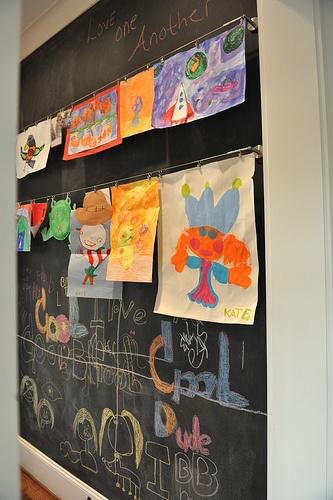 our chalkboard/art wall