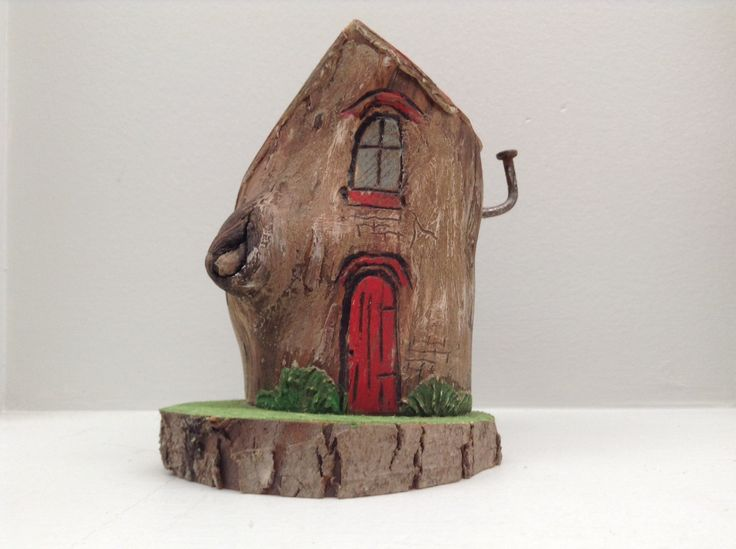 174 - little wood fairy house, red door, green grass on branch slice base. Greytimberwolfcrafts by Greytimberwolfcrafts on Etsy