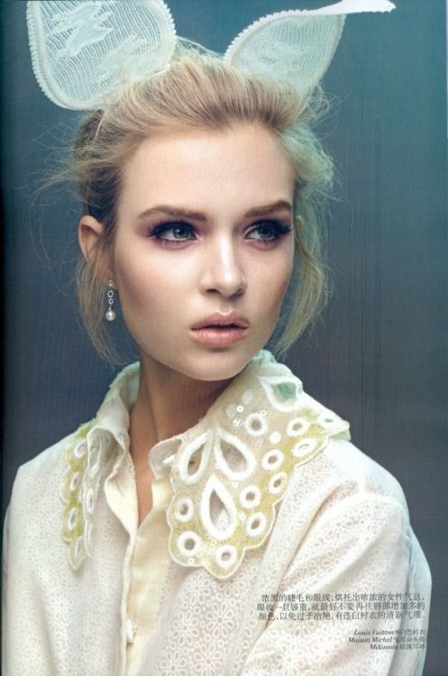"""vogueweekend:  """"White Shirt Girls"""", Josephine Skriver photographed by Raymond Meier in Vogue China March 2012    Those ears!"""