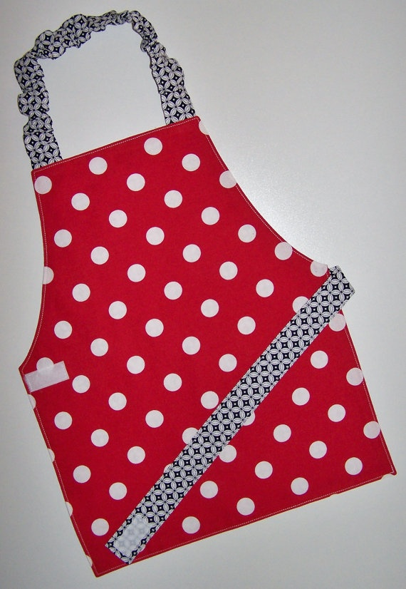 Polka dot apron Reversible apron Montessori apron by EverSewSweet, $12.00