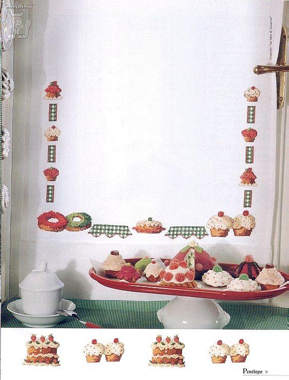 Grandissima raccolta di Schemi e grafici per Punto croce, gratis da scaricare : Schema punto croce-allegre tende da cucina