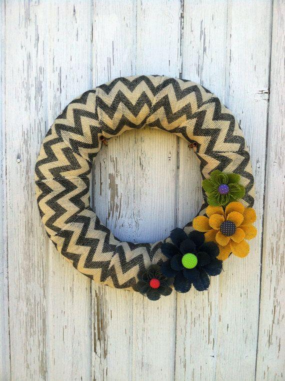 Chevron Burlap Wreath with Burlap Flowers by BurlapBlooms on Etsy, $35.00