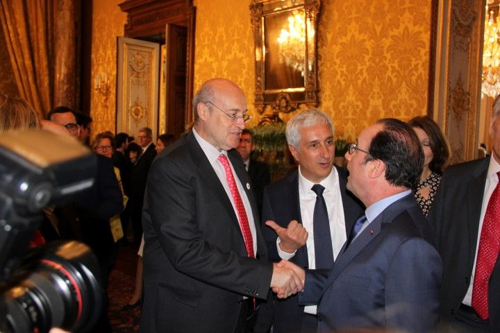 WUWM Chairman, Manuel Estrada and Rungis President, Stephane Layani with Mr Francois Hollande, France President