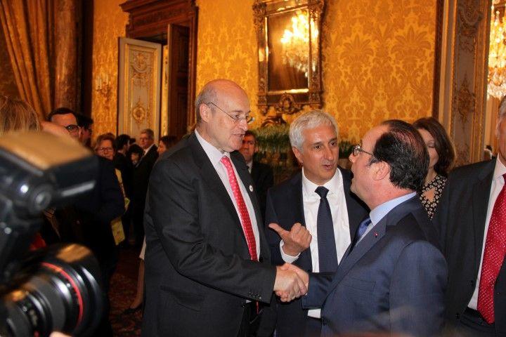 WUWM Chairman, Manuel Estrada and Rungis President, Stephane Layani with Mr Francois Hollande, France President