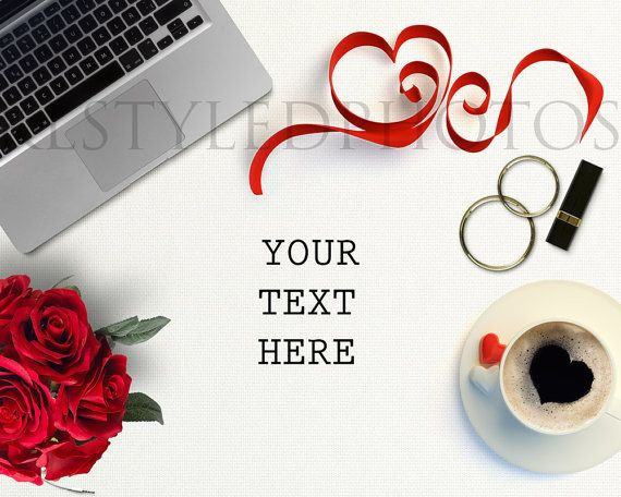 Valentine Day Styled Desk/ White Desktop/ Mock by KLStyledPhotos
